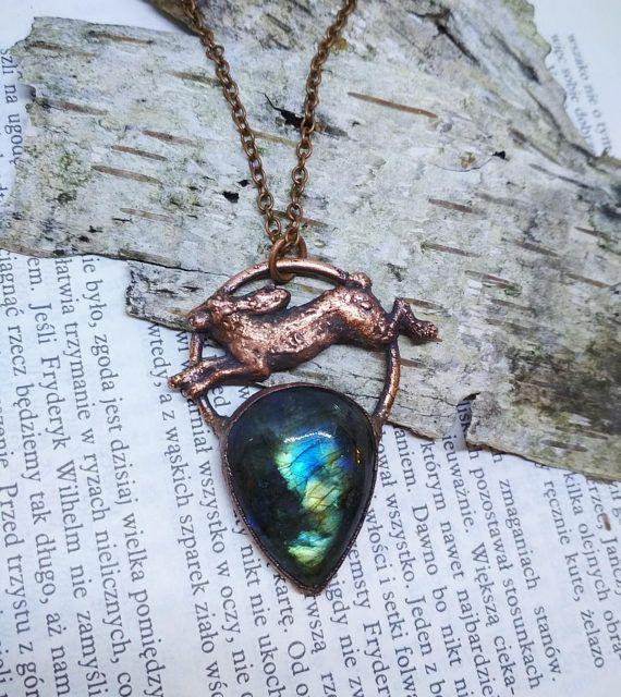 Labradorite necklace hare necklace labradorite pendant