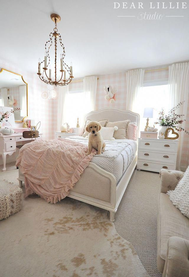 Lillie S Room With A Few Little Fall Updates Dear Lillie Room Ideas Bedroom Girly Bedroom Girl Bedroom Designs Lillie room with new chandelier