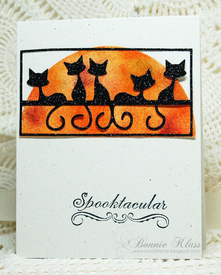 wow check out these cats howling at the halloween moon cats are from penny - Photo Halloween Cards