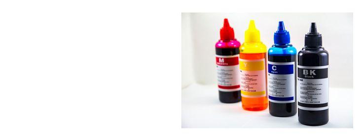 Lote de 4 Botellas de Tinta Universal para cartuchos de impresoras de 100 ml.