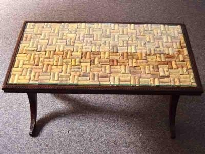 Wine Cork Table for Curtis and I's new coffee table!