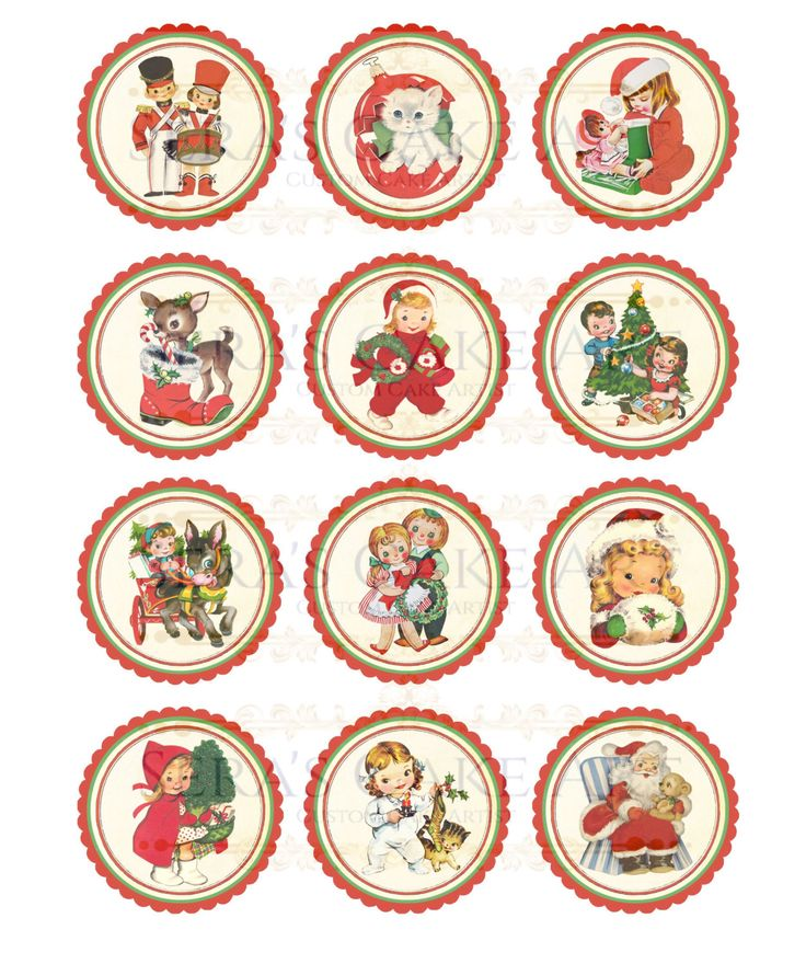Vintage Christmas Cup cake toppers by SerasCakeArt on Etsy