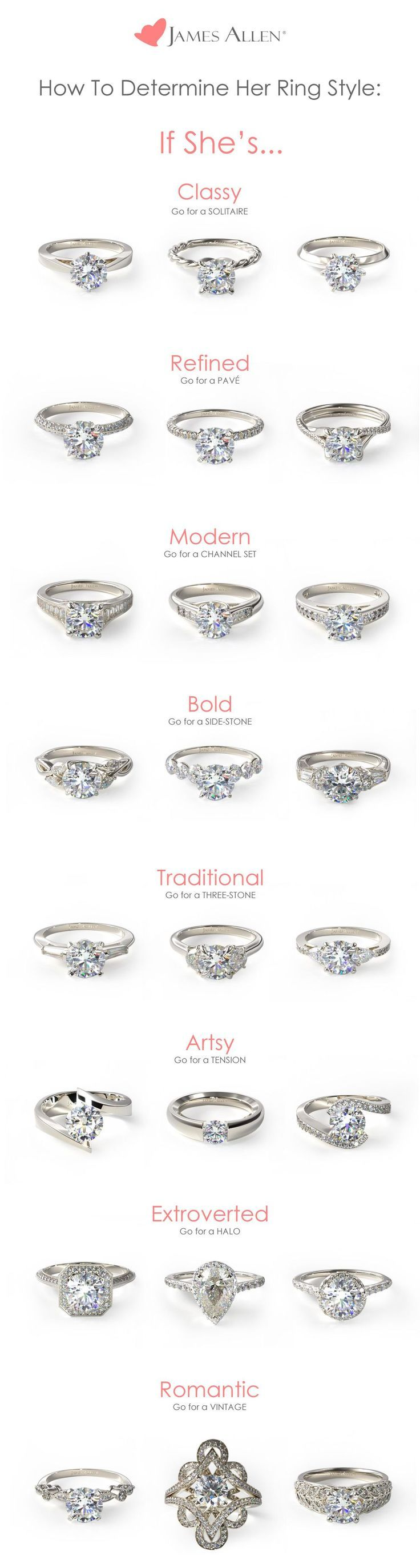 What type of ring suits her best? This doesn't need to be a guessing game :-) Find her dream engagement ring with this guide.