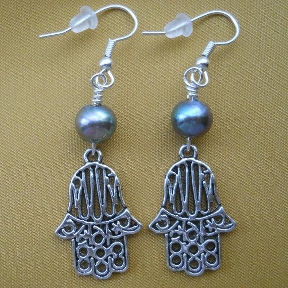 Hamsa Silver and Black Metal Charm Dangle Earrings with by NewFire, $7.50Hamsa Silver, Black Metals, Metals Charms, Dangle Earrings, Charms Dangle