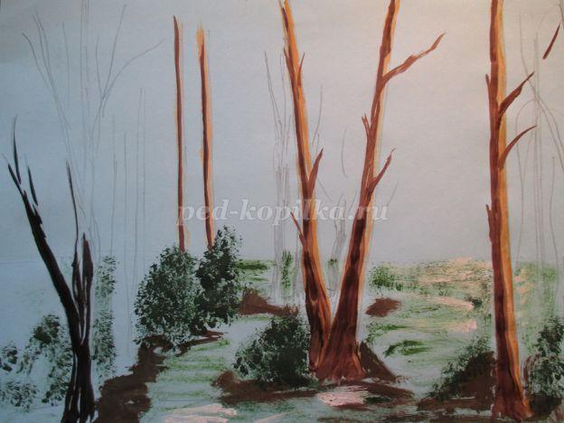 16АА Раскрашиваем стволы деревьев, используя черный цвет.