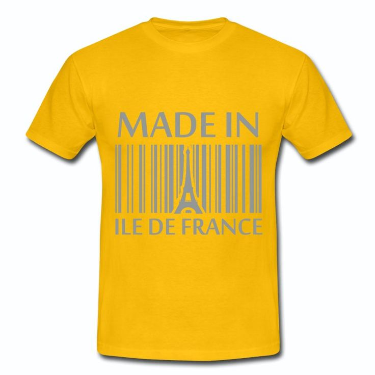 Tee Shirt Jaune France Made in Ile de France Tour Eiffel II