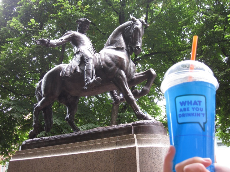 Sipping on a Blue Raspberry Coolatta while visiting Paul Revere's Monument in Boston.