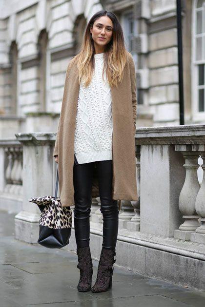 Big off white fisherman knit + leather leggings + ankle boots + tan coat + leopard print bag