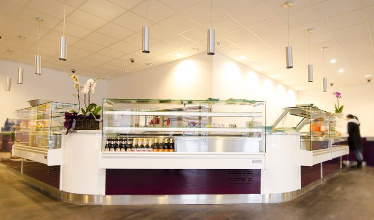Purple and White Front Counters for #Vietnamese #Franchise Aobaba #RestaurantDesign - http://www.catersales.co.uk/cs/bistros-restaurants/aobaba/