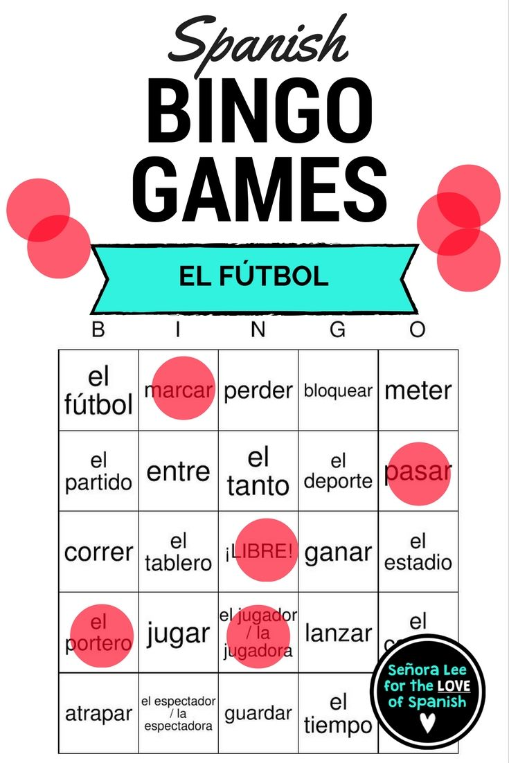 40 cards (printed 2 per page) to practice 31 Spanish soccer vocabulary from  Buen