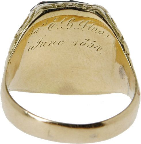 *JEB STUART's~West Point Class Ring, gold with a green stone depicting the West Point insignia. This ring was given to him by his mother and father when he graduated in 1854.