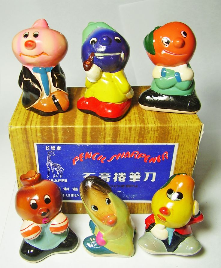 FOR SALE ! 6 funny anthropomorphic fruits and vegetables VINTAGE Chinese CHALKWARE clay CERAMIC figural PENCIL SHARPENERS ! http://www.ebay.com/sch/mypinkturtle/m.html?_ipg=50&_sop=12&_rdc=1