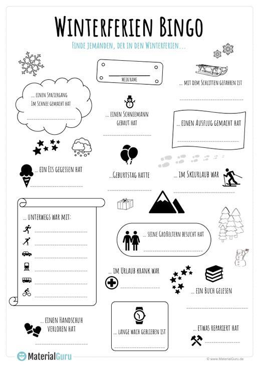 Winterferien Bingo – MaterialGuru