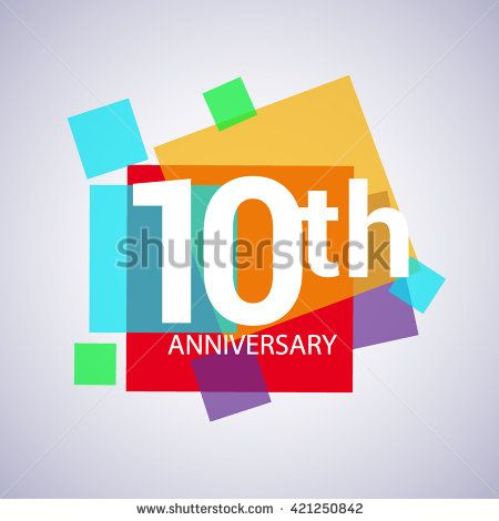 10th anniversary logo, 10 years anniversary colorful vector design. geometric background. - stock vector