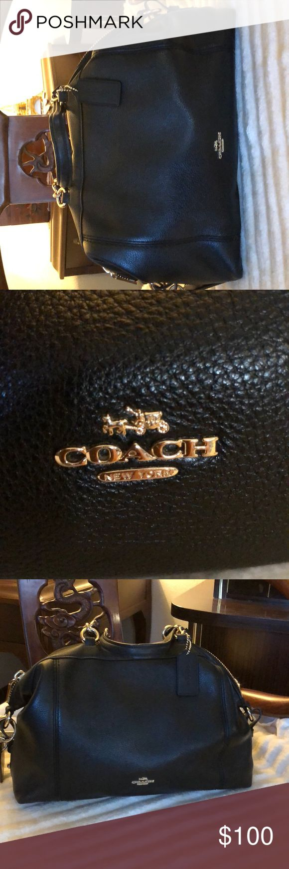 Like new coach handbag Black pebbled leather. Long strap or handheld. Perfect condition Coach Bags Crossbody Bags