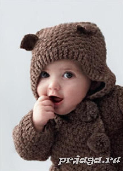 Детское пальто спицами «Мышонок»