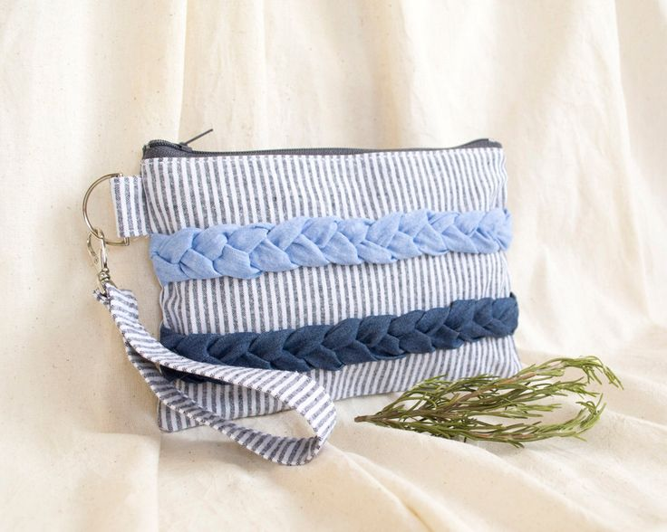 Striped Zipper Pouch, Blue Clutch, Cosmetic Bag with Chambray Plaits, Mediterranean Style Accessories by Yanettine on Etsy https://www.etsy.com/au/listing/157078144/striped-zipper-pouch-blue-clutch