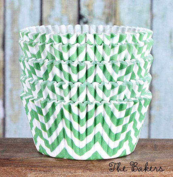 Lime Green Chevron Cupcake Liners Lime by thebakersconfections