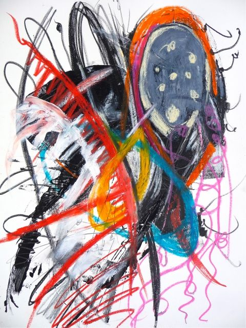"""Frenetic Components, Mixed Media on Paper, 22"""" x 30"""""""