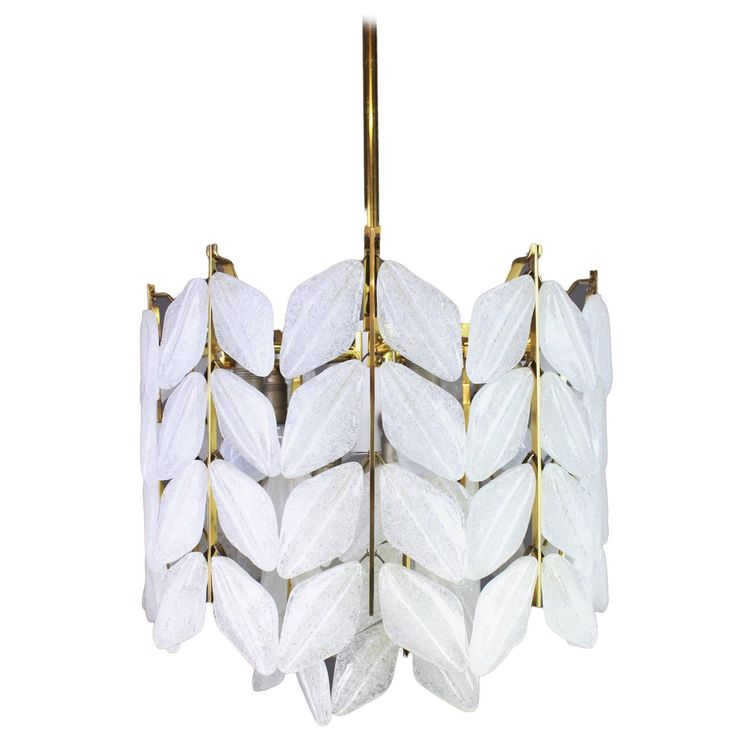 Stunning Leaves Chandelier, Brass and Murano Ice Glass by Kalmar, Austria, 1960s