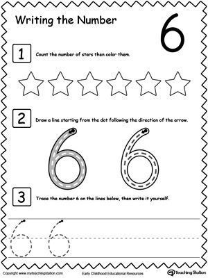 Learn to Count and Write Number 6: Teach your preschooler and kindergarten how to count and write numbers. Practice counting and writting number 6.