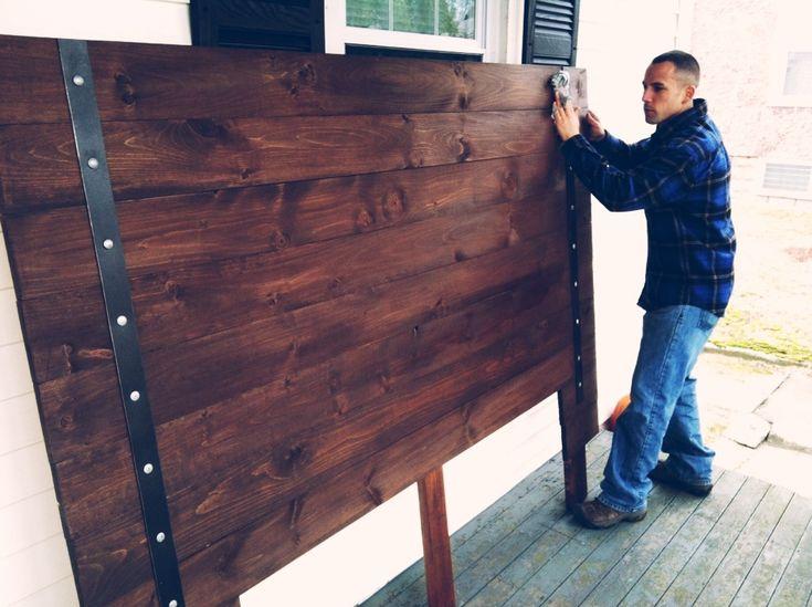 diy headboard planks aluminum strips and big bolts
