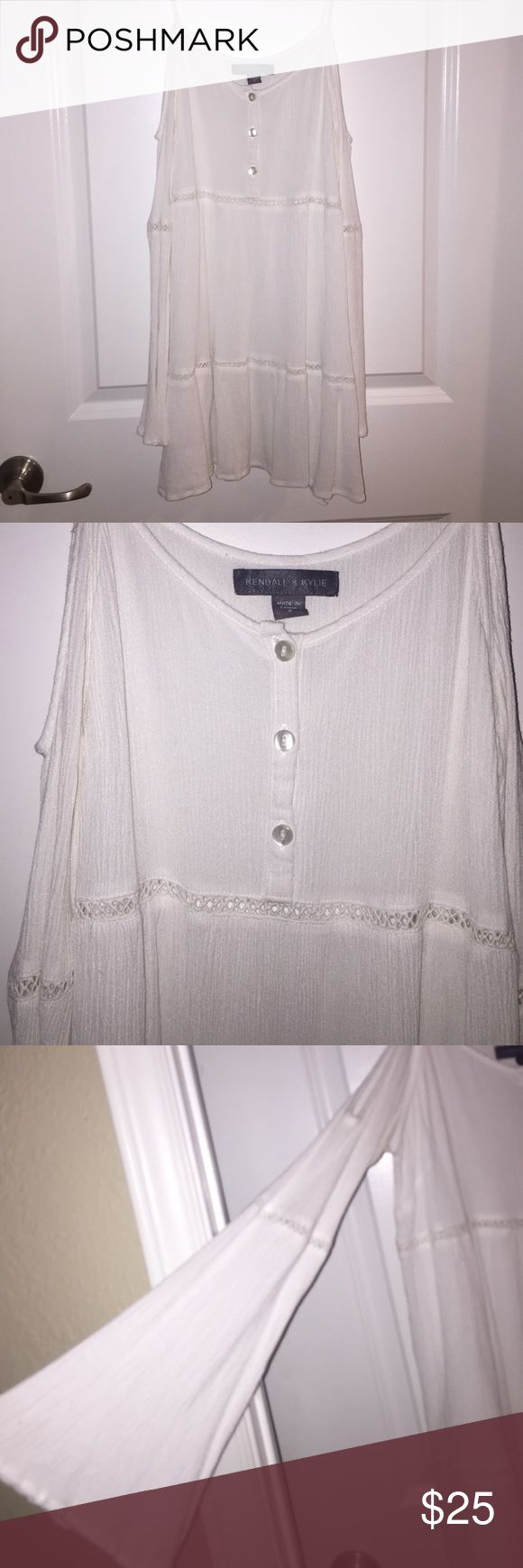 Kendall and Kylie white coverup/ dress cold shoulder white dress from pacsuns Kendall's & Kylie collection. size S. would work for xs and S Kendall & Kylie Dresses