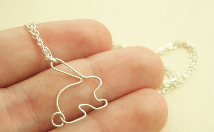 Easter bunny rabbit necklace in sterling silver - sweet and simple jewelry. $23.00, via Etsy.