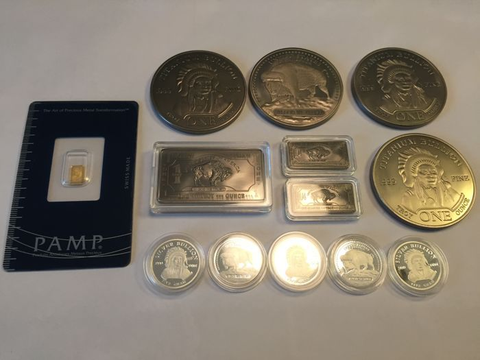 Veel met Pamp Suisse 999 goudstaven - Verenigde Staten 99 zilveren munten - Verenigde Staten 999 niobium / niobium - Verenigde Staten 999 titanium / titanium bar American Buffalo - zeldzame aarden  Vrij veel bestaande uit vier verschillende zeldzame metalen.999 - 999-zilver - goud 999 niobium - 999 titanium:4 x 1 oz USA titanium munten American buffalo - Indiase hoofd munten1 x 1 oz USA niobium bar American buffalo ontwerp - zeldzame aarde metaal2 x 1/4 oz USA niobium bars Amerikaanse…
