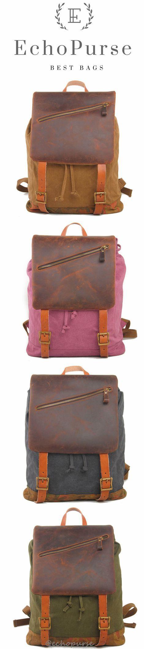 Vintage Rucksack Bag, Canvas And Leather Khaki School Backpack 1978