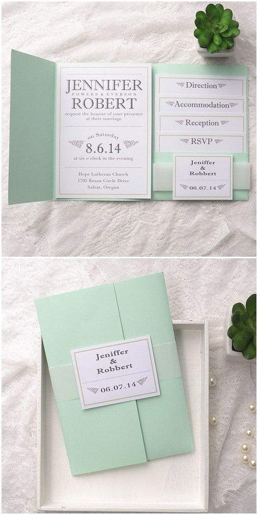 POCKET FOLD WEDDING INVITATIONS DIY ENVELOPES INVITE