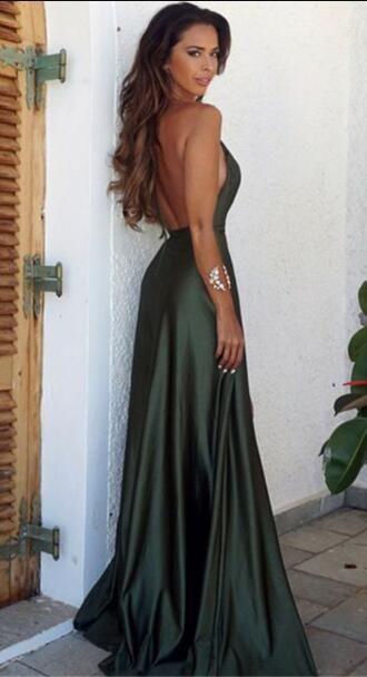 Sexy V Neck Prom Dress,Backless Cheap Prom Dress,Split Prom Dresses,2018 Green Prom Dress on Luulla