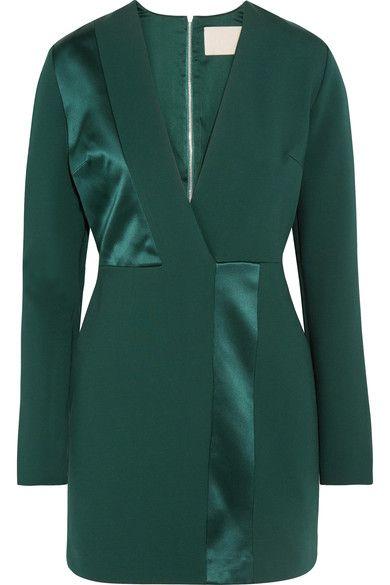 Emerald jersey and silk-satin  Zip fastening along back  Fabric1: 86% viscose, 10% polyamide, 4% elastane; fabric2: 100% silk; lining: 95% silk, 5% elastane Dry clean Imported