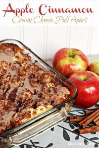Apple Cinnamon Cream Cheese Pull Apart Bread ~  Rhodes Dinner Rolls stuffed with cream cheese, cinnamon and apples!