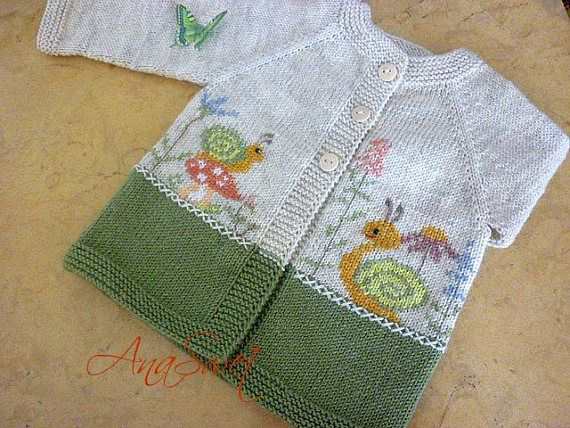 Pattern baby cardigan with snails and flowers.PDF pattern