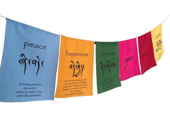 Handen van Tibet handgemaakte Tibetaanse Affirmation gebed vlaggen geluk moed liefde rust wijsheid