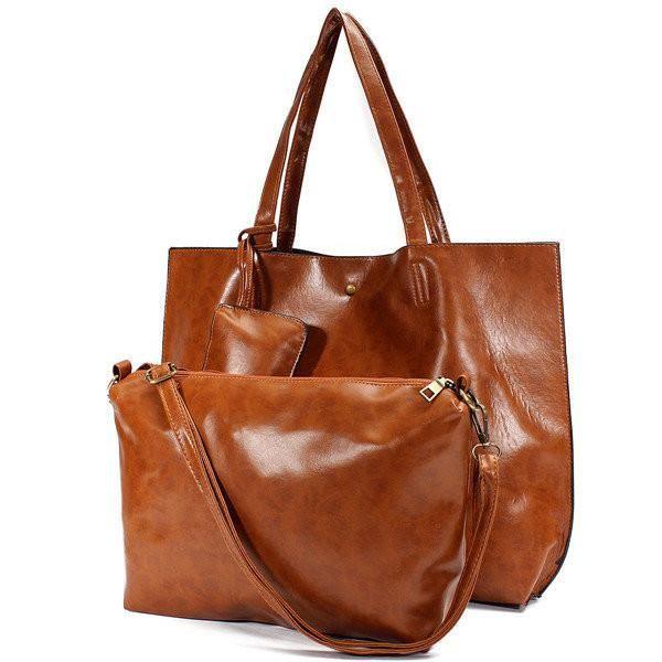 Women Leather 3-sets Poild Patern Handbag Crossbody Bag