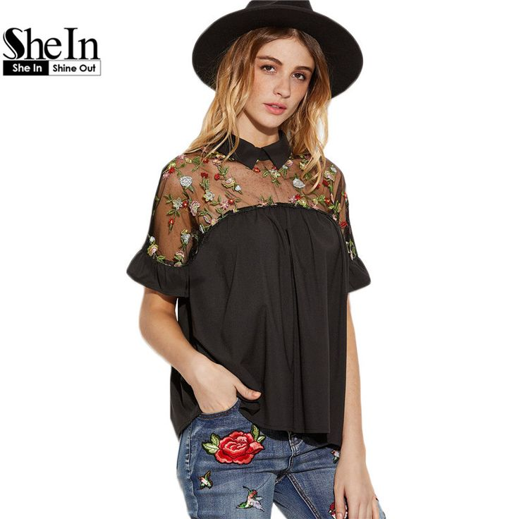 Black Flower Embroidered Blouse   Tag a friend who would love this!    #fashion #style #teenclothes #stylish #love #beauty #beautiful
