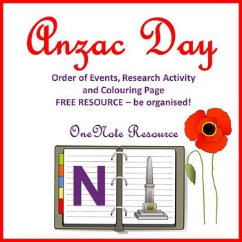 ANZAC Order of Events - organise your whole event using our OneNote version. FREE and includes a research activity to learn about ANZAC Day.