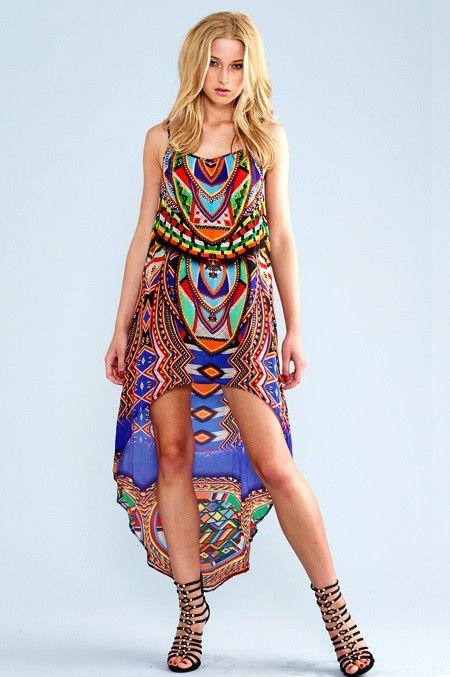Parides Cleopatra Dress - If you're looking at summer dresses and find that many of them are long, you'll find this Shahida Parides Cleopatra Hi Low Blue Cami Dress extremely refreshing and exciting. Equipped with adjustable shoulders straps that are thin and easily can be hidden by hair or accented with jewelry. #shahidaparides