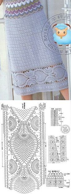 Узор для каймы юбки крючком                                                                                                                                                      More