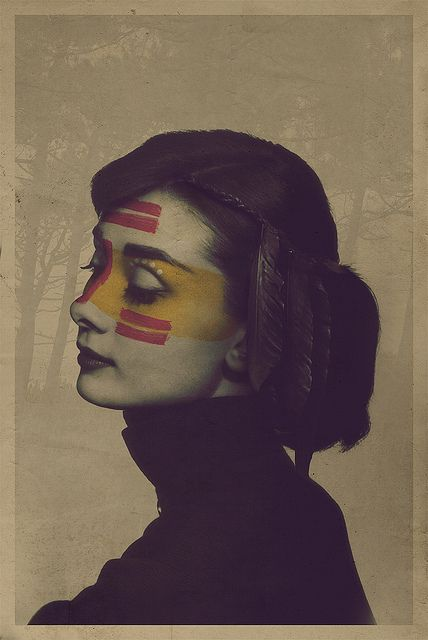 audrey hepburn depicted as the perceived stereotypical native american. according to the artist, this is a study on racism. i dig it.