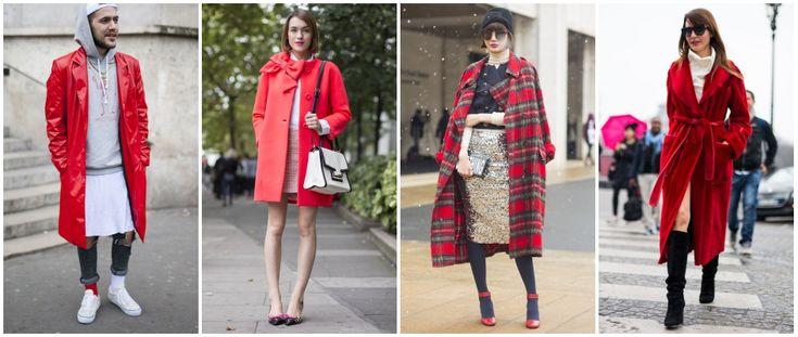 Czerwony płaszcz w jesiennych stylizacjach ulicznych.