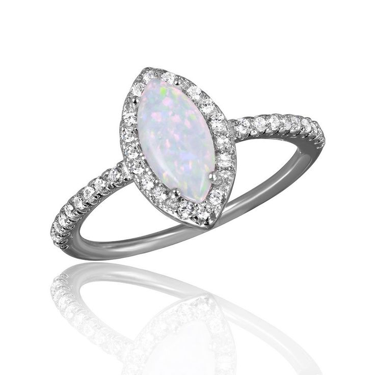 Sterling Silver Rhodium Plated Cats Eye Ring With Synthetic Opal And CZ