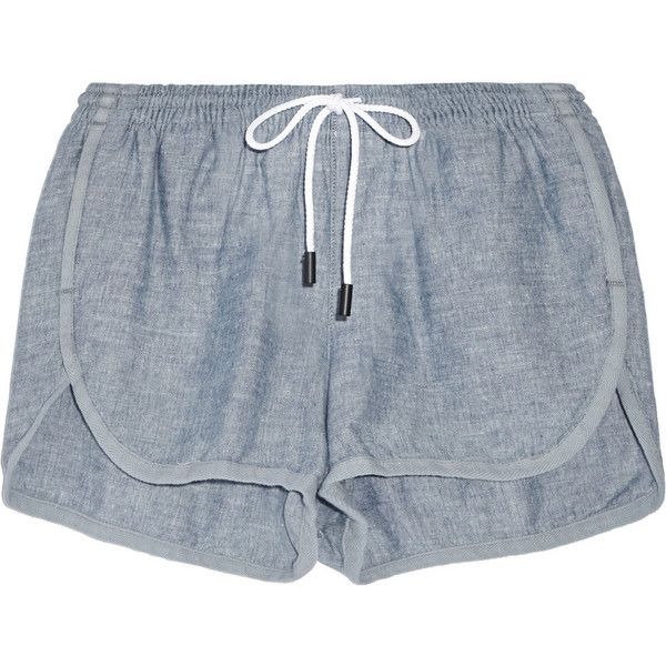 Rag & bone Cotton-chambray shorts ($245) ❤ liked on Polyvore featuring shorts, bottoms, pants, short, light blue shorts, cotton shorts, drawstring shorts, rag bone shorts and elastic waist shorts
