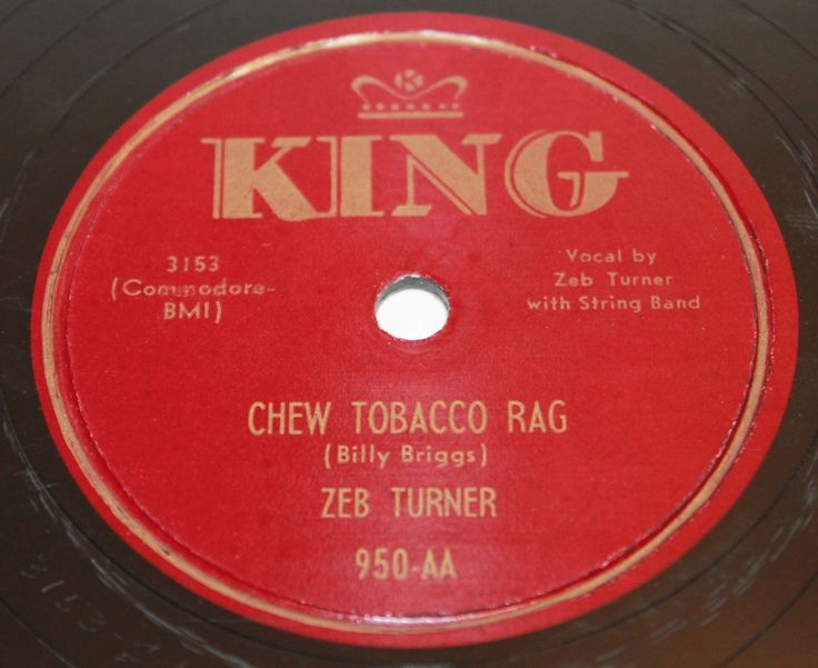 "Zeb Turner ""Chew Tobacco Rag / No More Nothin"" 1951 King Records 78 RPM, amazing pre-rockabilly boggie-centric western swing, original first pressing!"