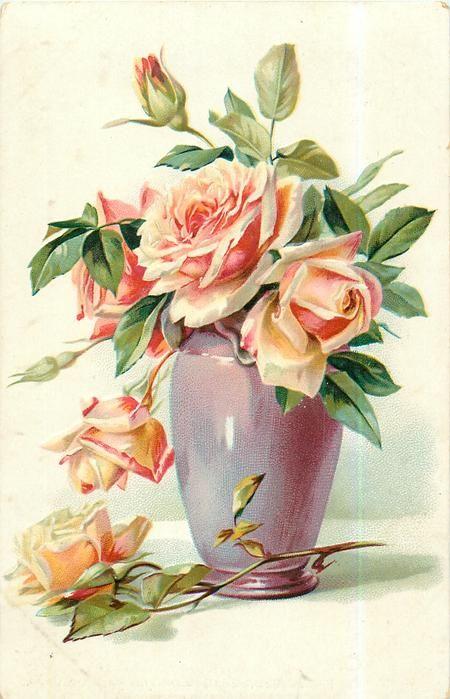 roses, orange blooms in purple vase, one on table