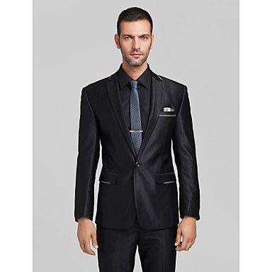 poliéster+negro+adaptado+ajuste+traje+de+dos+piezas+–+EUR+€+81.33