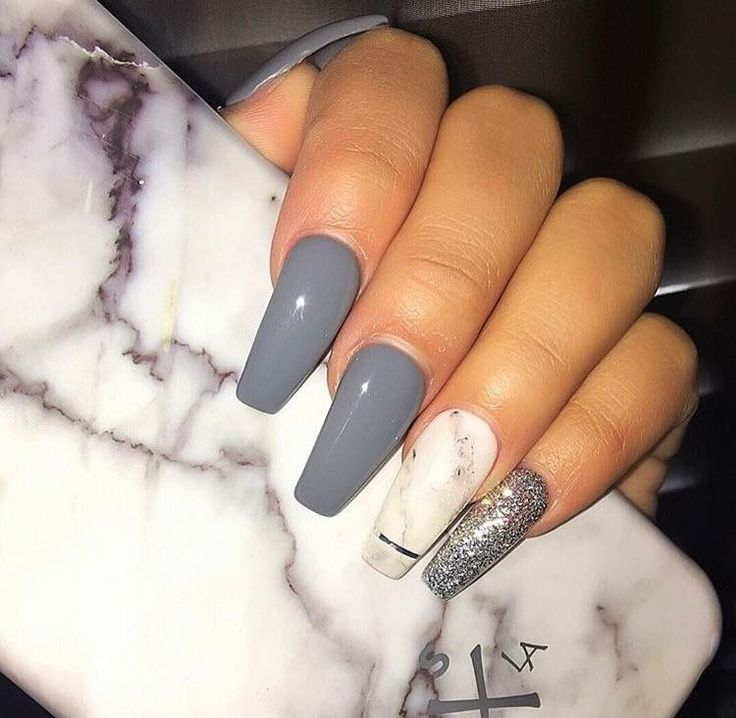 Grey Coffin Nails . <Fall Color>