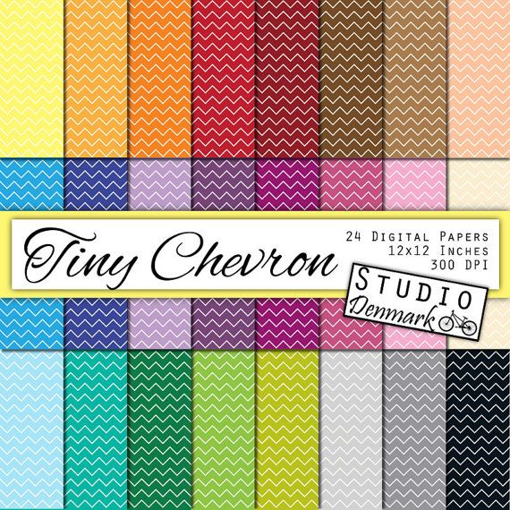 Tiny Chevron Digital Paper Value Pack - 24 Colors - 12inx12in 300 dpi jpg - Instant Download - Commercial Use